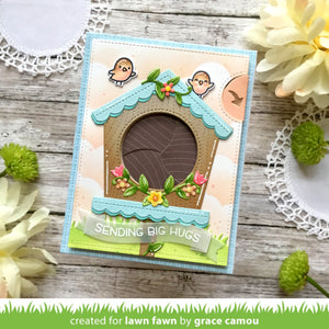 Lawn Fawn - Valentines - Lawn Cuts - Dies - Magic Iris Birdhouse Add-on