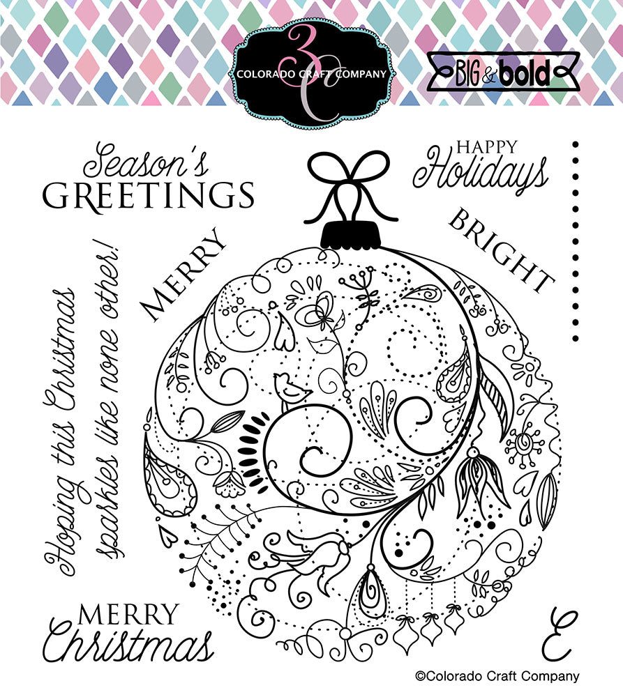 CColorado Craft Company - Big & Bold Collection - Clear Photopolymer Stamps - Holiday Ornament
