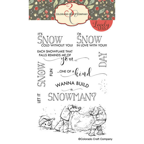Colorado Craft Company - Lovely Legs Collection - Clear Photopolymer Stamps - Build A Snowman