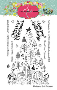 Colorado Craft Company - Whimsy World Collection - Clear Photopolymer Stamps - Christmas Town Tree
