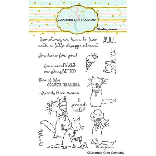Colorado Craft Company - Anita Jeram Collection - Clear Photopolymer Stamps - Ice Cream Day