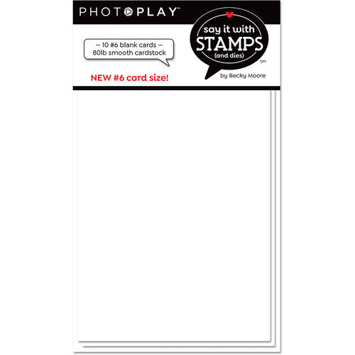 Photo Play Paper - Say it With Stamps Collection - Blank White Scored Card - Size Number 6