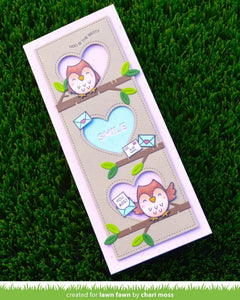 Lawn Fawn - Valentines - Lawn Cuts - Dies - Scalloped Slimline with Hearts; Portrait