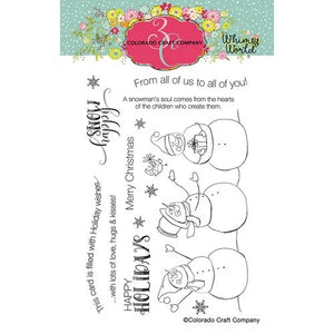 Colorado Craft Company - Whimsy World Collection - Clear Photopolymer Stamps - Snow Happy