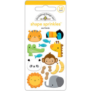 Doodlebug Design - At the Zoo Collection - Sprinkles - Self Adhesive Enamel Shapes - Zoo Friends