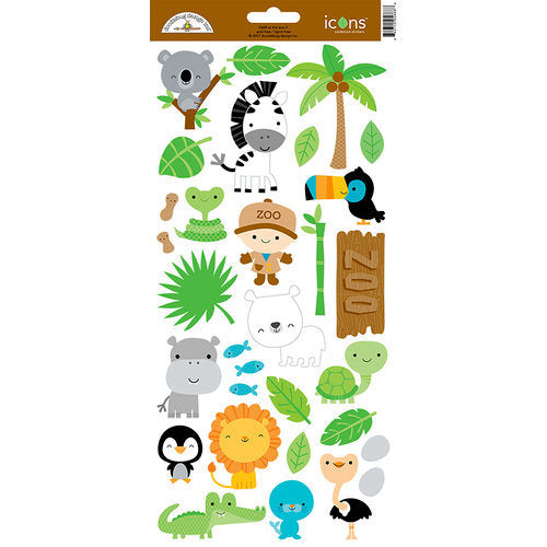 Doodlebug Design - At the Zoo Collection - Cardstock Stickers - Icons 2