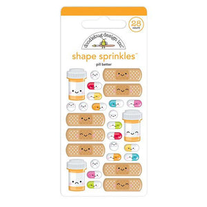 Doodlebug Design - So Much Pun Collection - Sprinkles - Self Adhesive Enamel Shapes - Pill Better