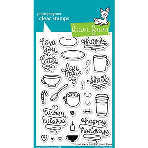Lawn Fawn - Clear Photopolymer Stamps - Love You A Latte