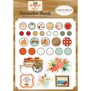 Carta Bella Paper - Fall Market Collection - Decorative Brads