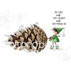 Stampingbella-Teeny Tiny Townie- With A Pine Cone- RUBBER STAMP