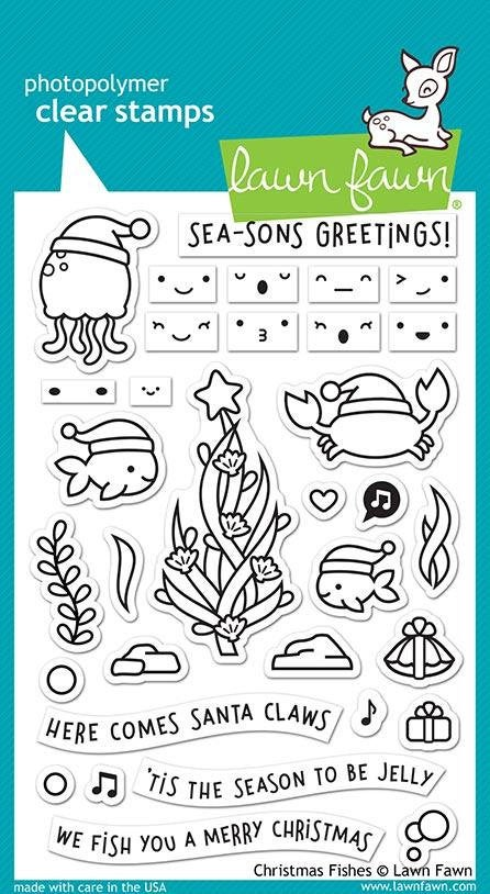 Lawn Fawn-Christmas Fishes-Clear Stamp Set