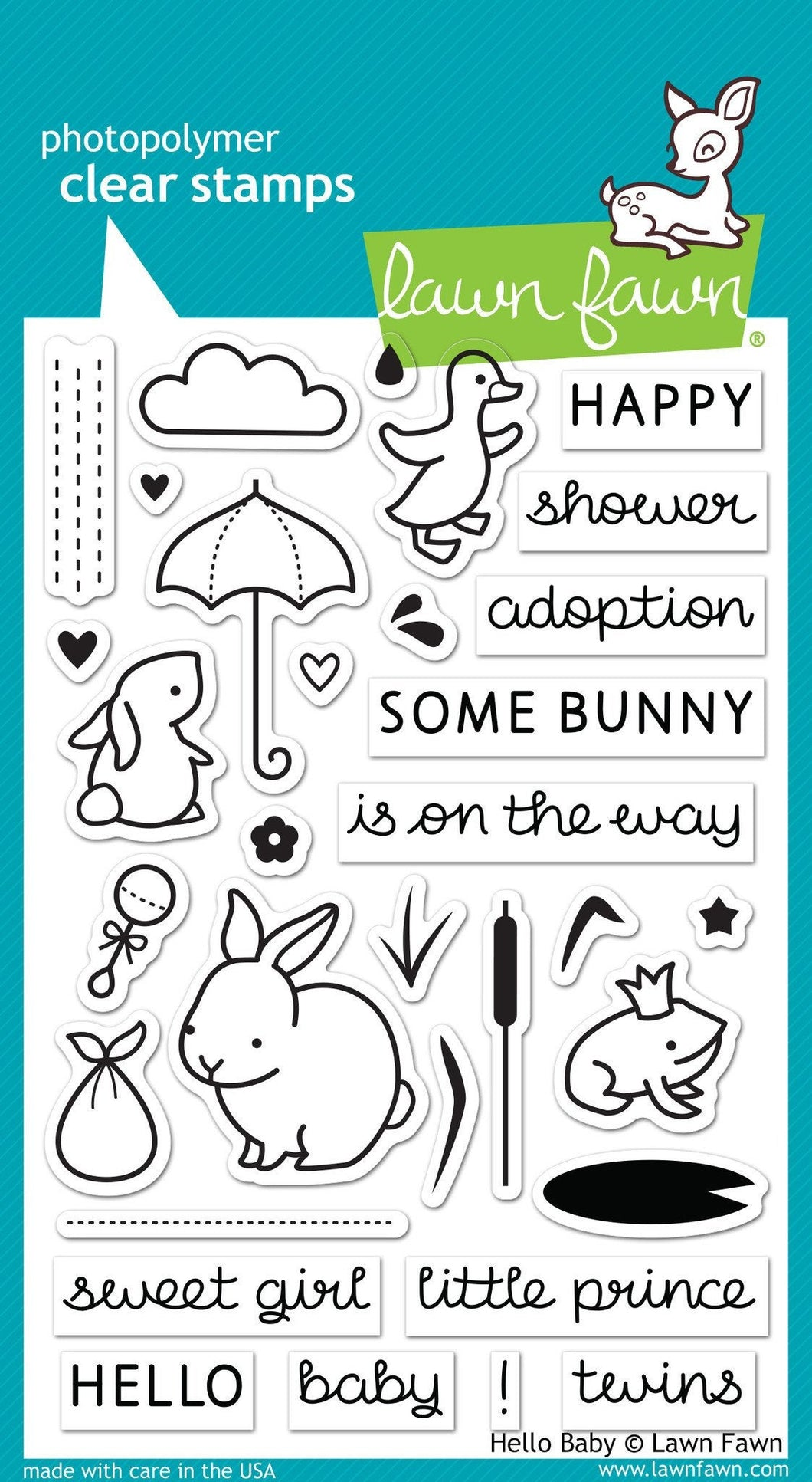 Lawn Fawn - hello baby - clear stamp set