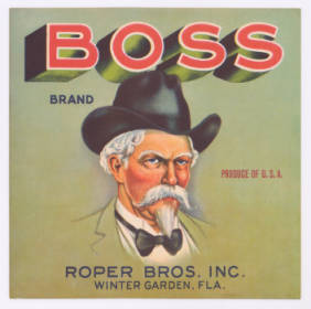 Boss citrus crate label