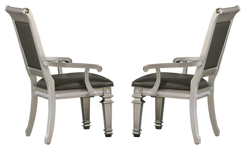 Homelegance Bevelle Arm Chair in Silver (Set of 2) 1958A image