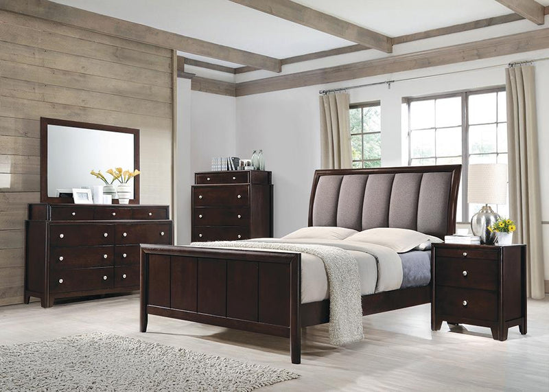 Madison Transitional Dark Merlot and Taupe Grey Queen Four-Piece Set
