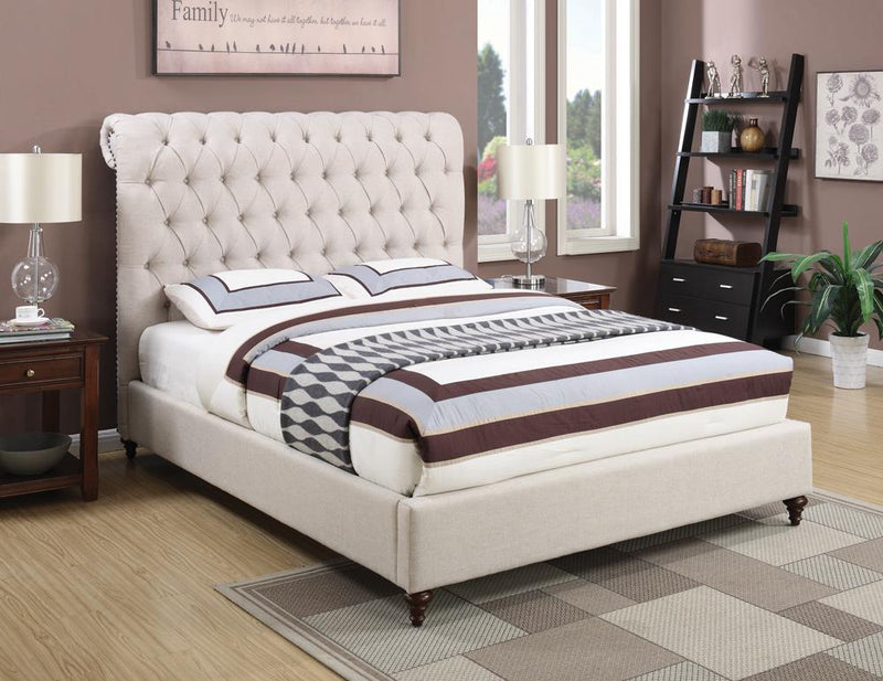 Devon Transitional Beige Queen Bed