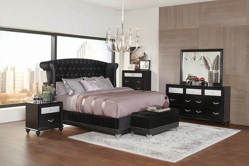 Barzini Black Upholstered Queen Bed