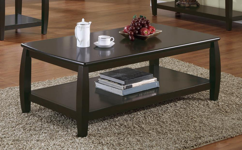 Wood Top Espresso Coffee Table