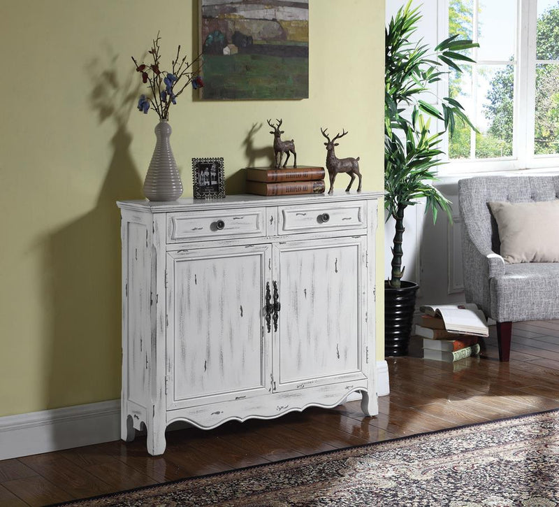 French Country Antique White Accent Cabinet
