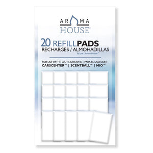 AromaHouse Aromatherapy Diffuser Unscented Refill Pads for Essential Oil for Use with ScentBall, Carsceter, Aromakey, Aromapod & Mio 20 Pack