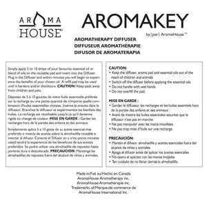 Aromahouse Aromakey USB Aromatherapy Diffuser with 5 Unscented Refill Pads for Bedroom - Bathroom - Kitchen - Home - Office - Car - Travel (Black)