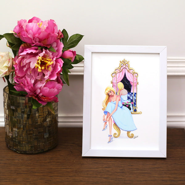 Getting Ready, Cinderella Framed Art Print