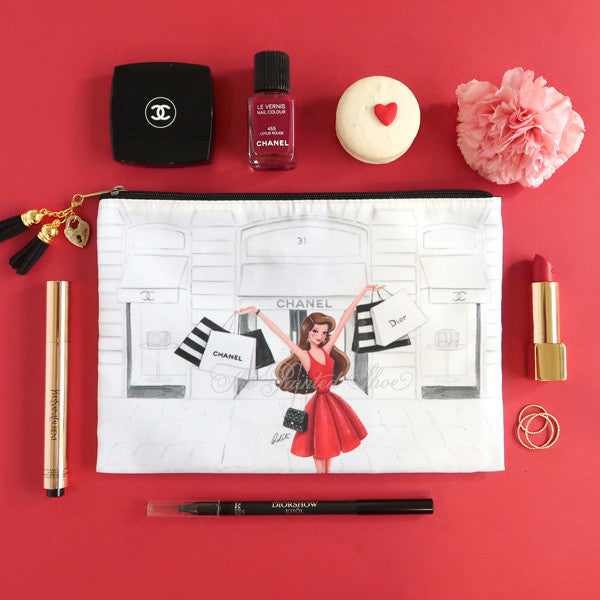 Retail Therapy Red Cosmetic Pouch