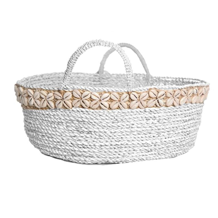 Round Basket With Shell Decoration - White