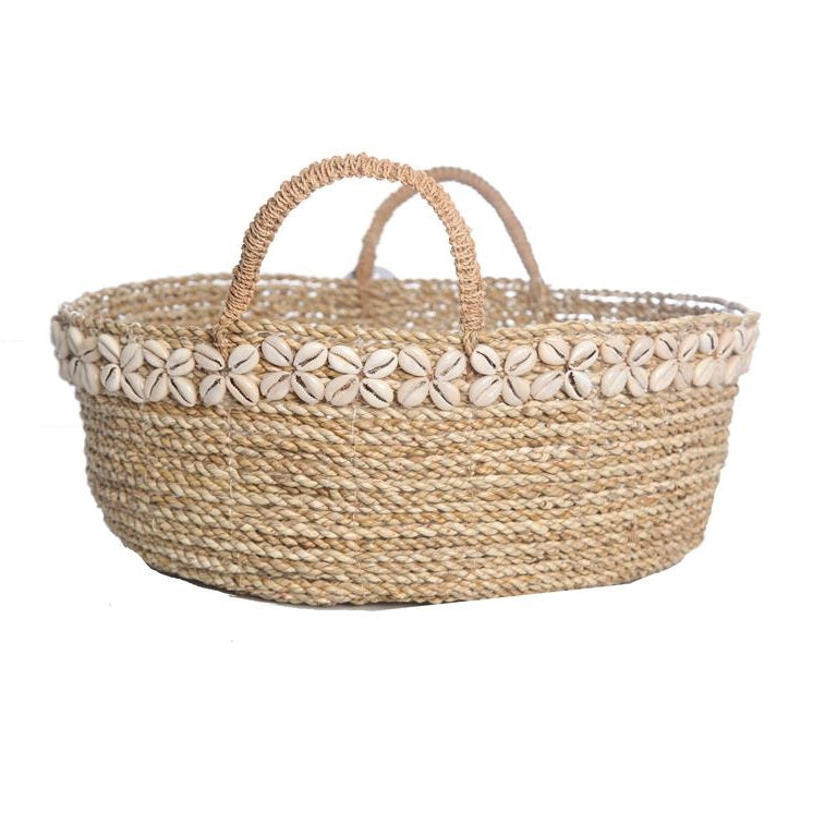 Round Basket With Shell Decoration - Natural