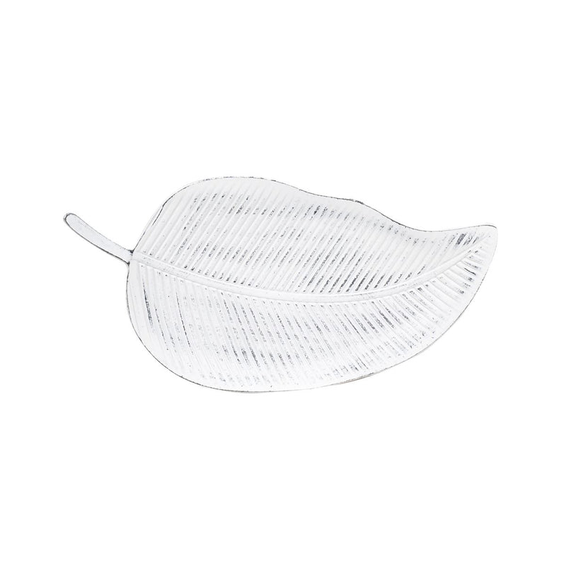 White Wooden Leaf Tray - Small