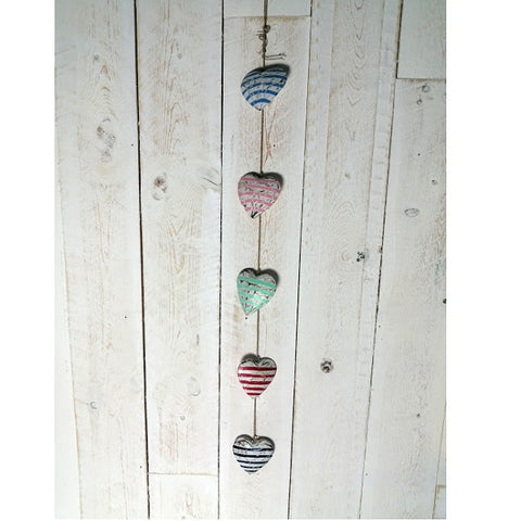 Striped Wooden Hearts Hanging Garland