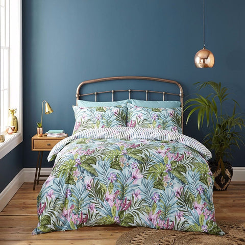 Tropical Leaves Duvet Cover Set - Green