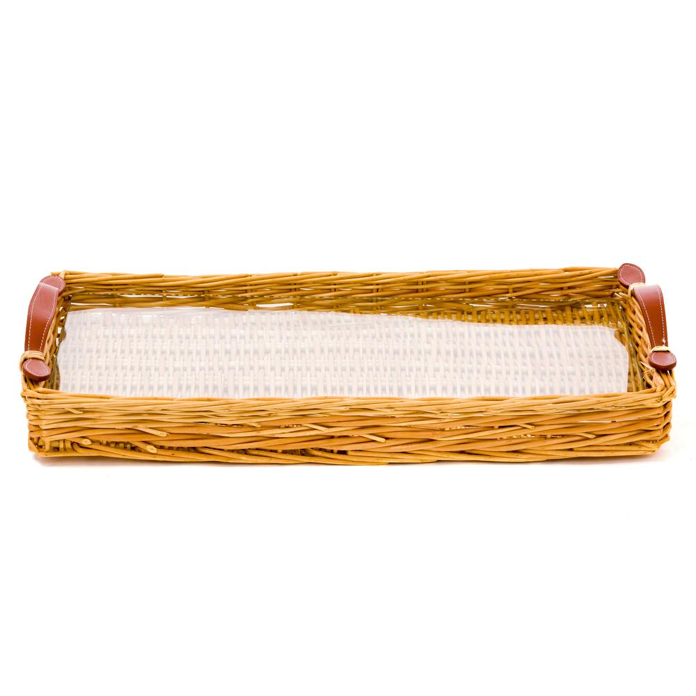 cane and leather tray