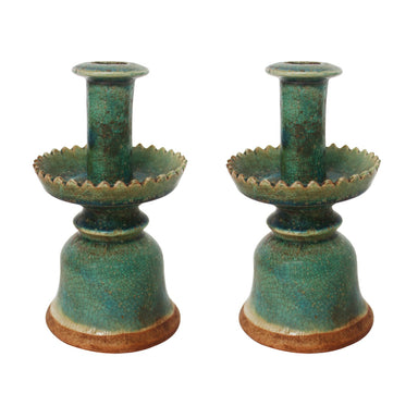 pair green candle holders