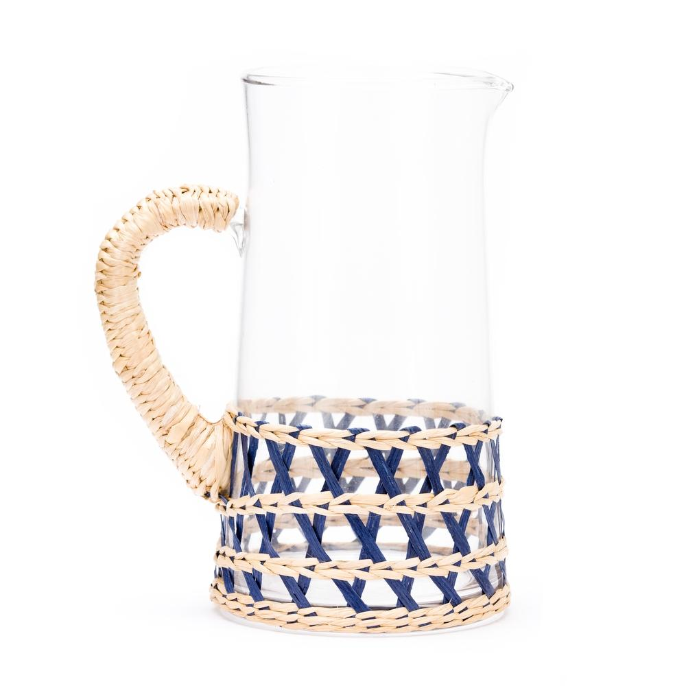 cane wrapped glass pitcher