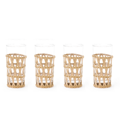 cane wrapped glassware