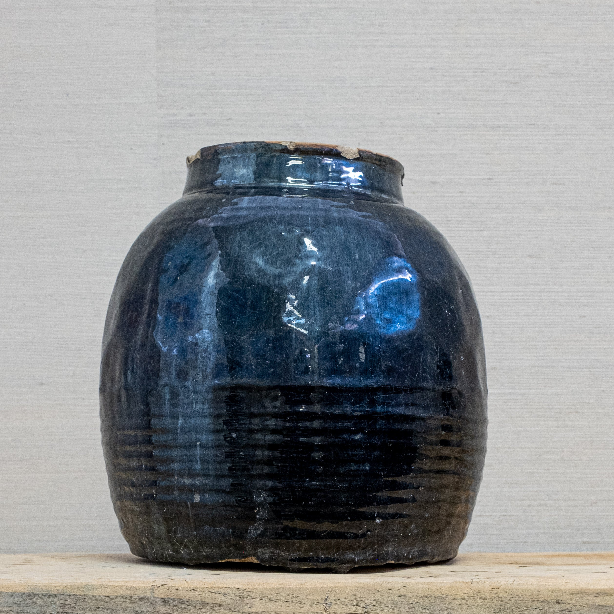 black glazed pot