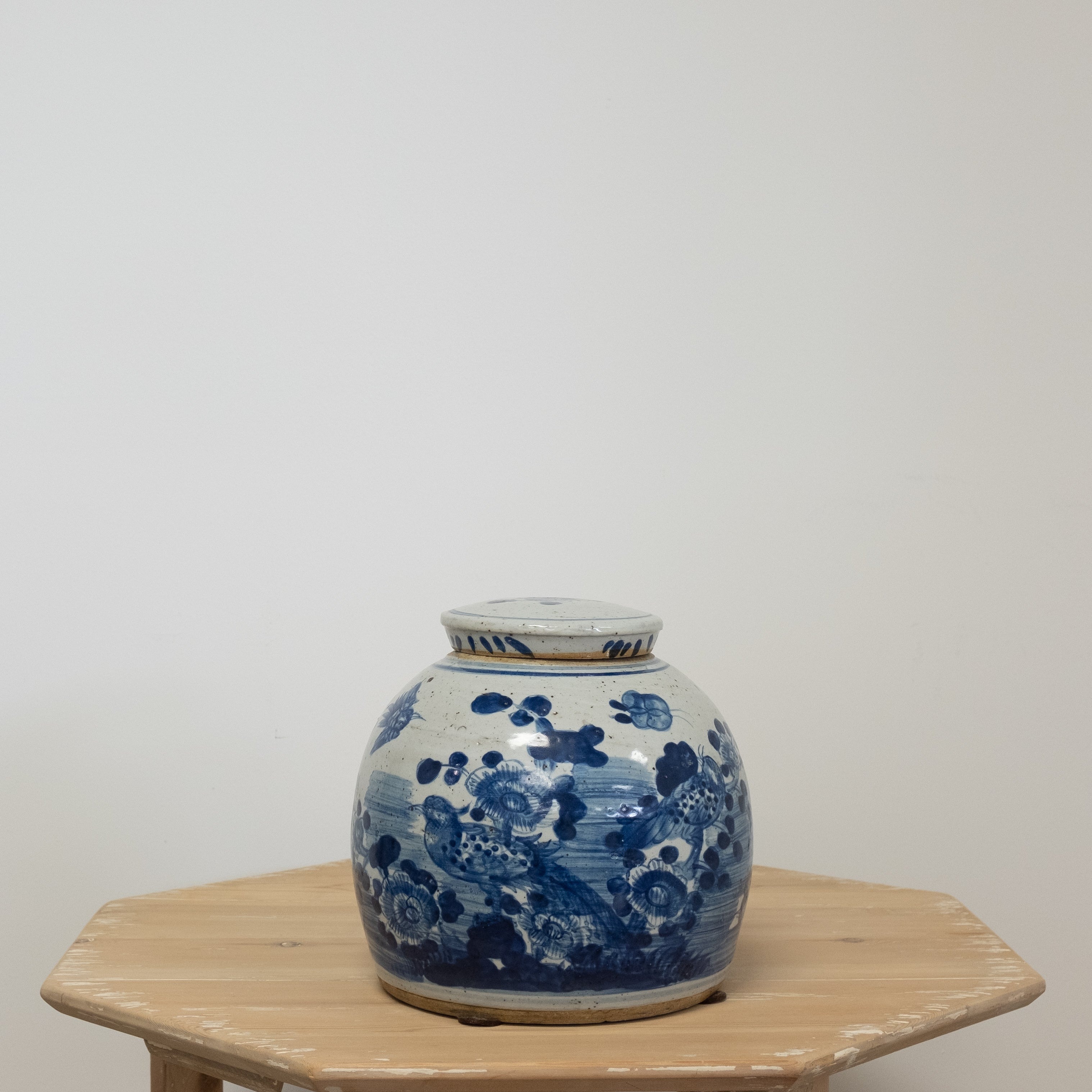 blue and white lidded jar