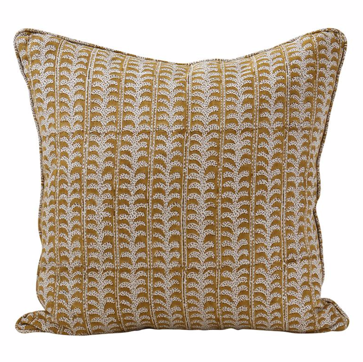 saffron (yellow) leafy vine square pillow