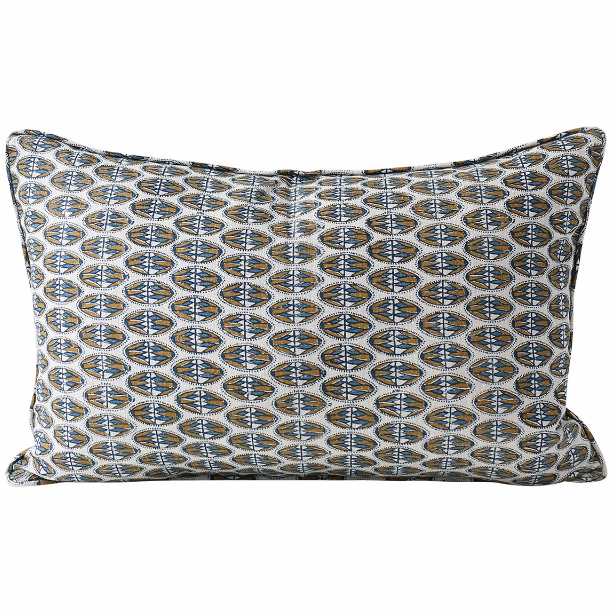 navy and tobacco geometric oblong pillow