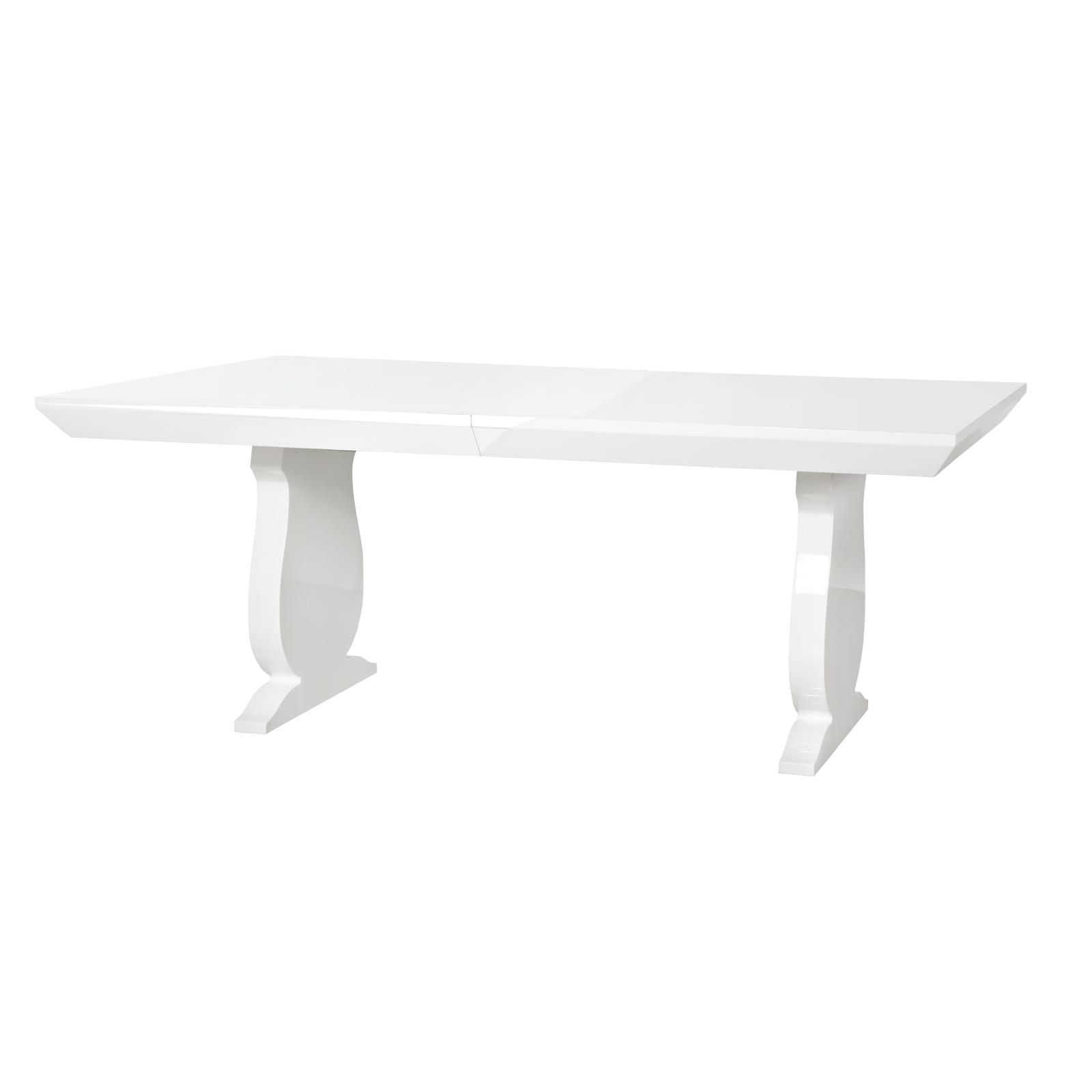white lacquered wood table