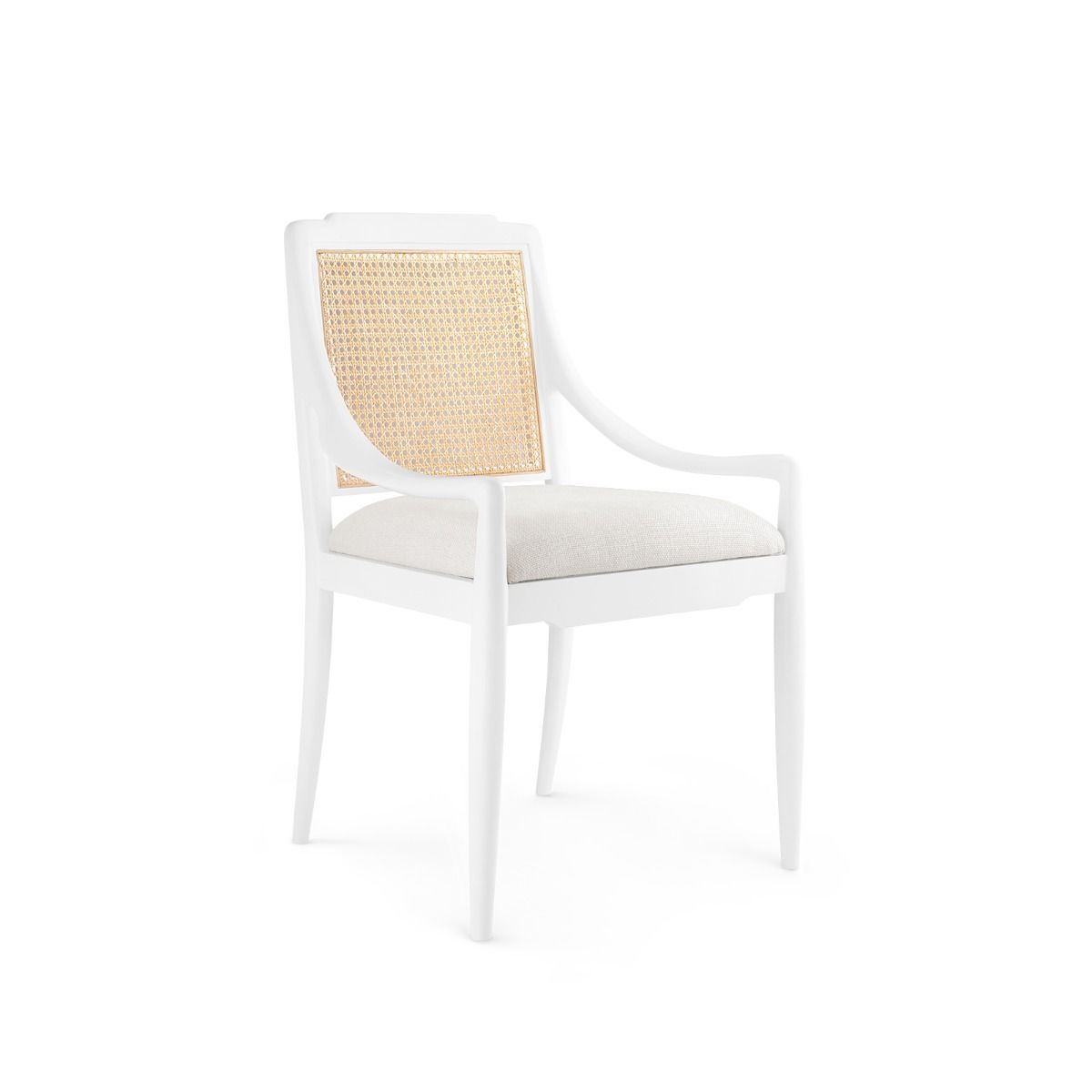 white and cane mahogany chair