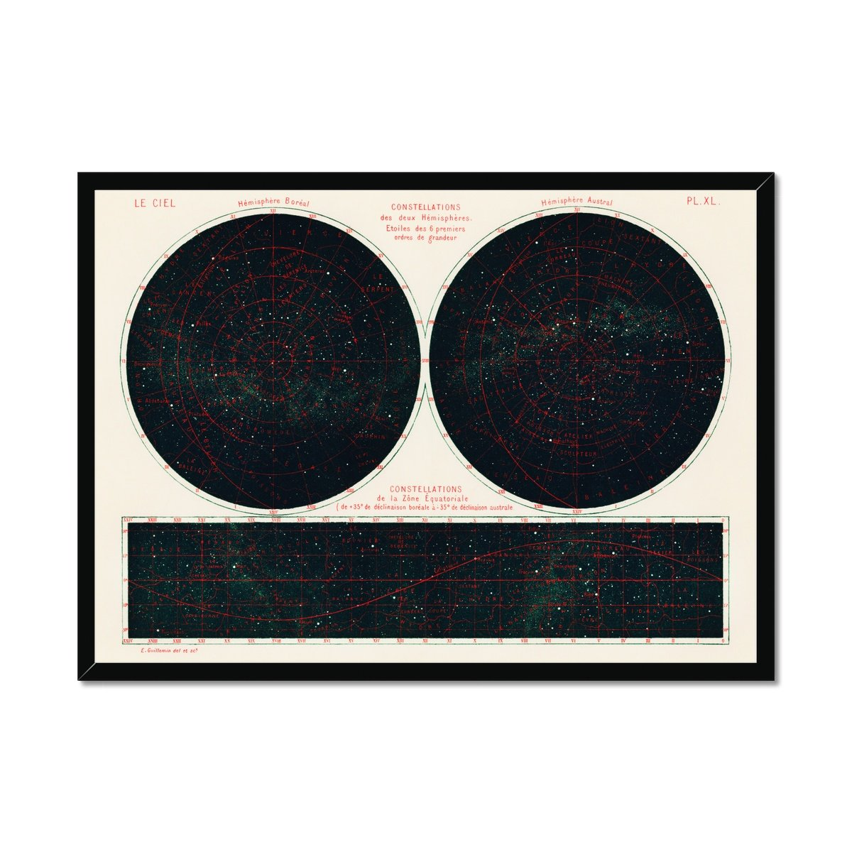 Constellations of the Two Hemispheres - Poster Framed