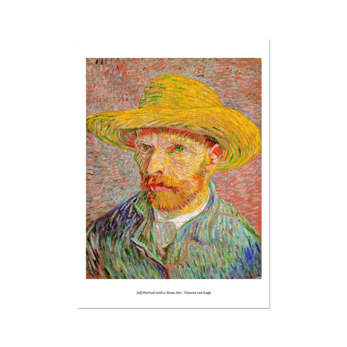 Self-Portrait with a Straw Hat 1887 Vincent van Gogh - Framed Poster