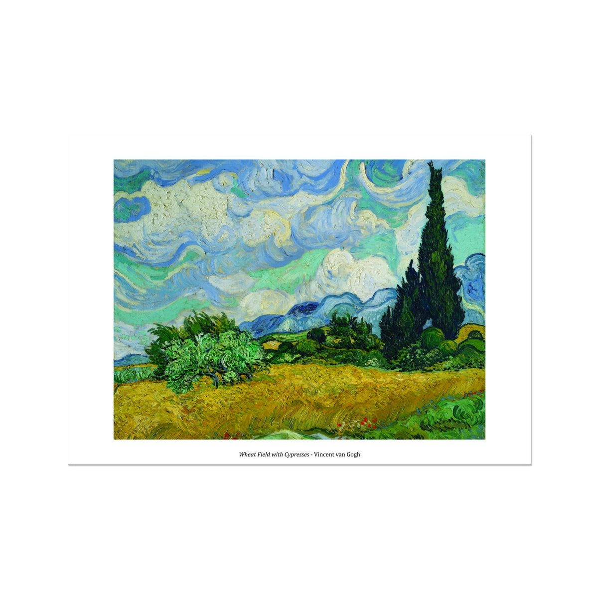 Wheat Field with Cypresses 1889 Vincent van Gogh - Framed Poster