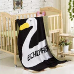 Baby Blanket Black White Rabbit Swan Cross
