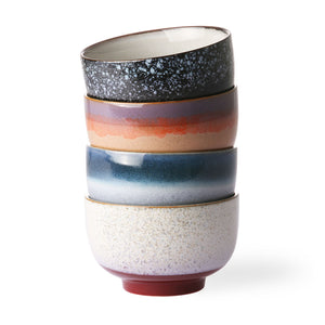 HKliving Fresh update of the 70's ceramics bowls. A set of four bowls in different colours. The bowls are all unique due to the handmade finish. The set is packed in a black iconic 70's ceramics gift box. Tournai Green Terra Home Living