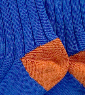 Load image into Gallery viewer, Wide Wale: Blue/Orange - Cushioned Combed Cotton