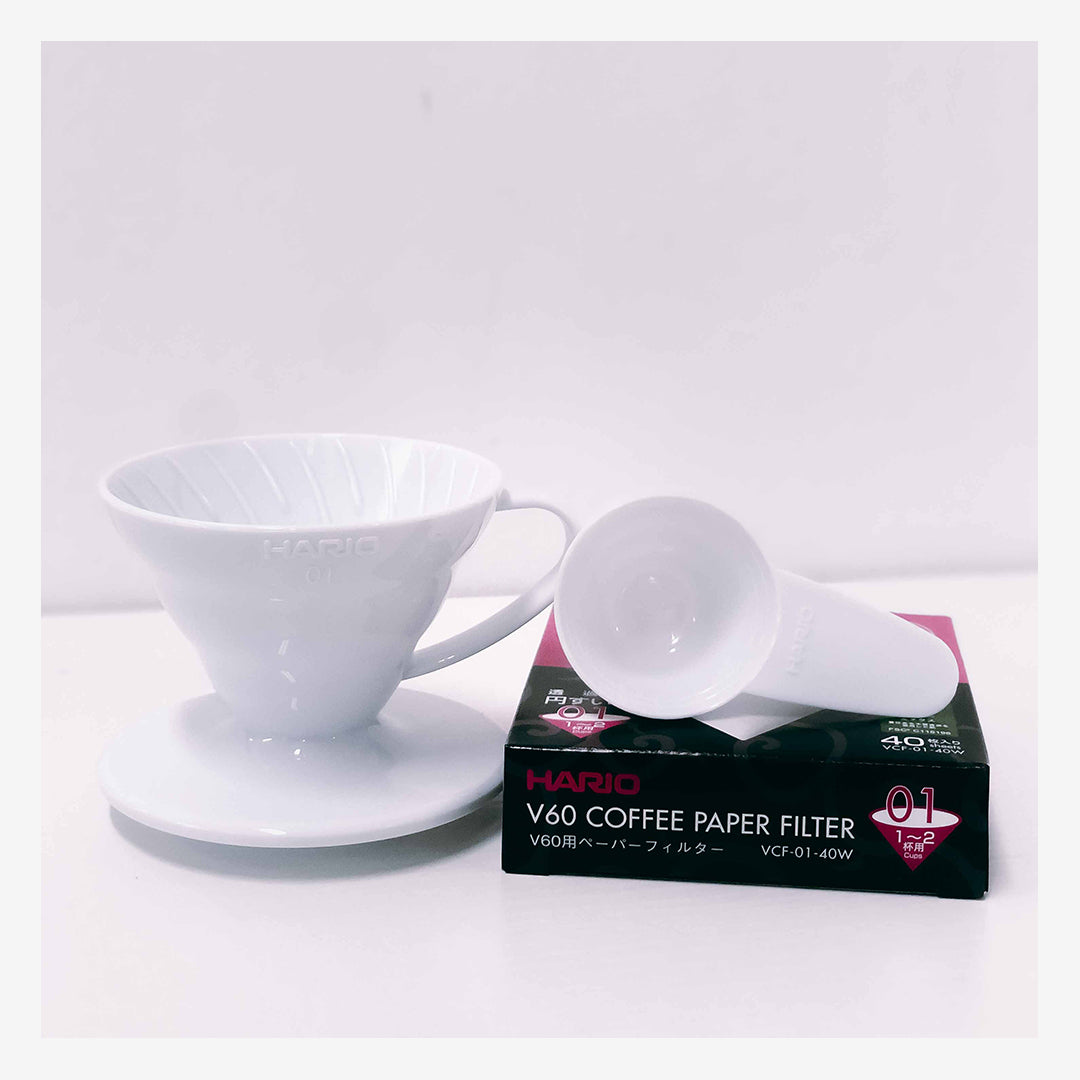 White Hario V60 Dripper & Filter Paper