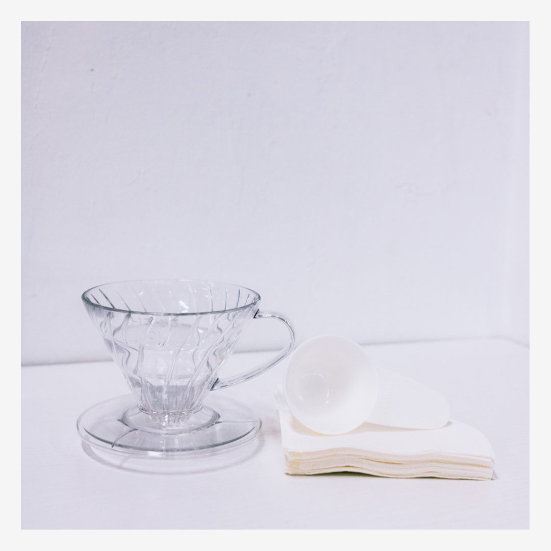 Transparent Hario V60 Dripper & Filter Paper